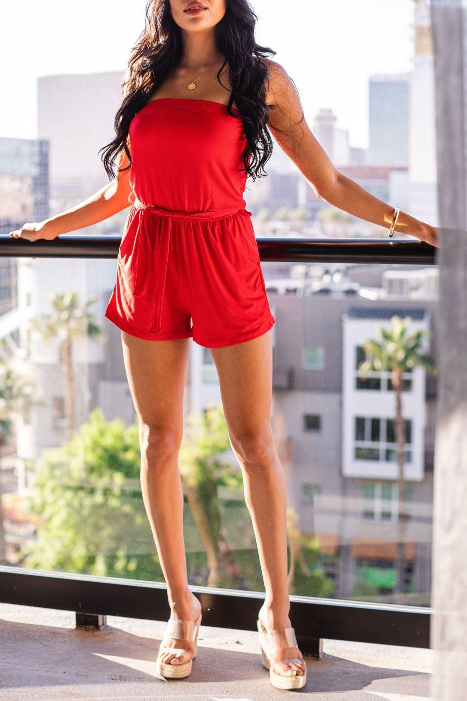 Sun Bather Red Romper
