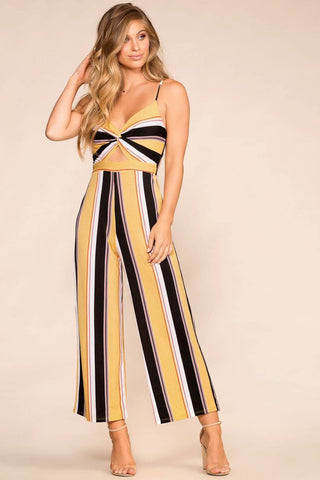 Smooth Sailing Khaki Striped Dress