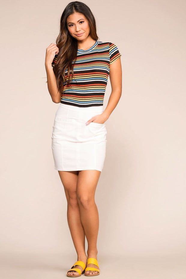 Sunny Afternoon Navy/Orange Striped Top | Her She