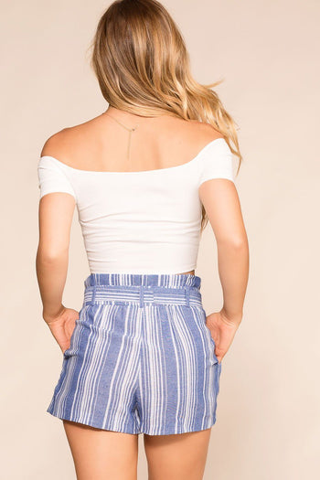 Sunny Blue Striped Paperbag Shorts | Shop Priceless