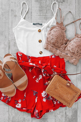 Andros Gingham Romper - Red