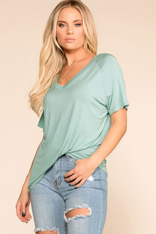 Lyra Front Twist Stripe Top - Blue