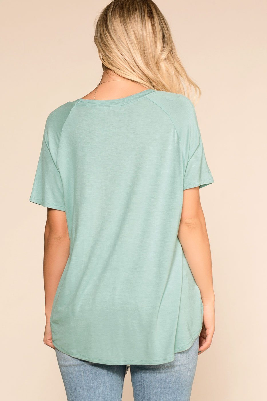 Sure Bet Mint V-Neck Tee | Hyfve