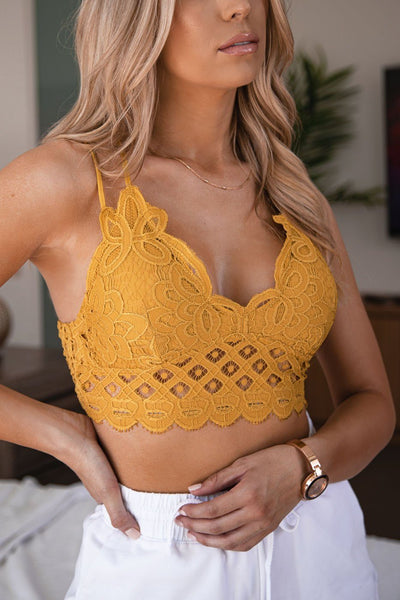 Sweet Talk Mustard Lace Bralette