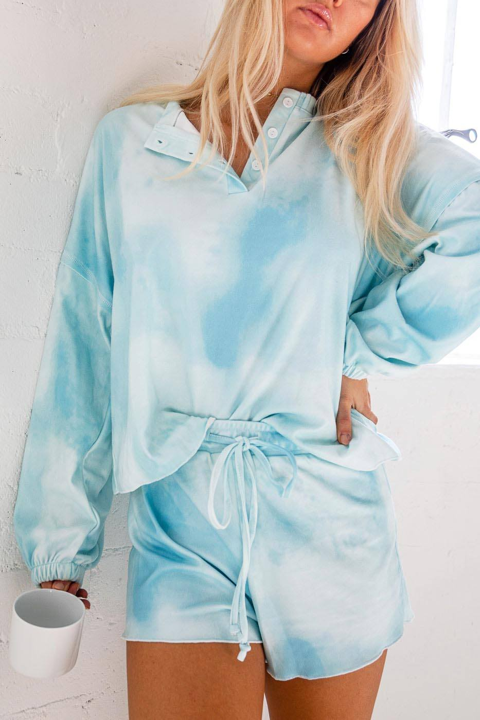 Sweet Tooth Aqua Tie-Dye Long Sleeve Top