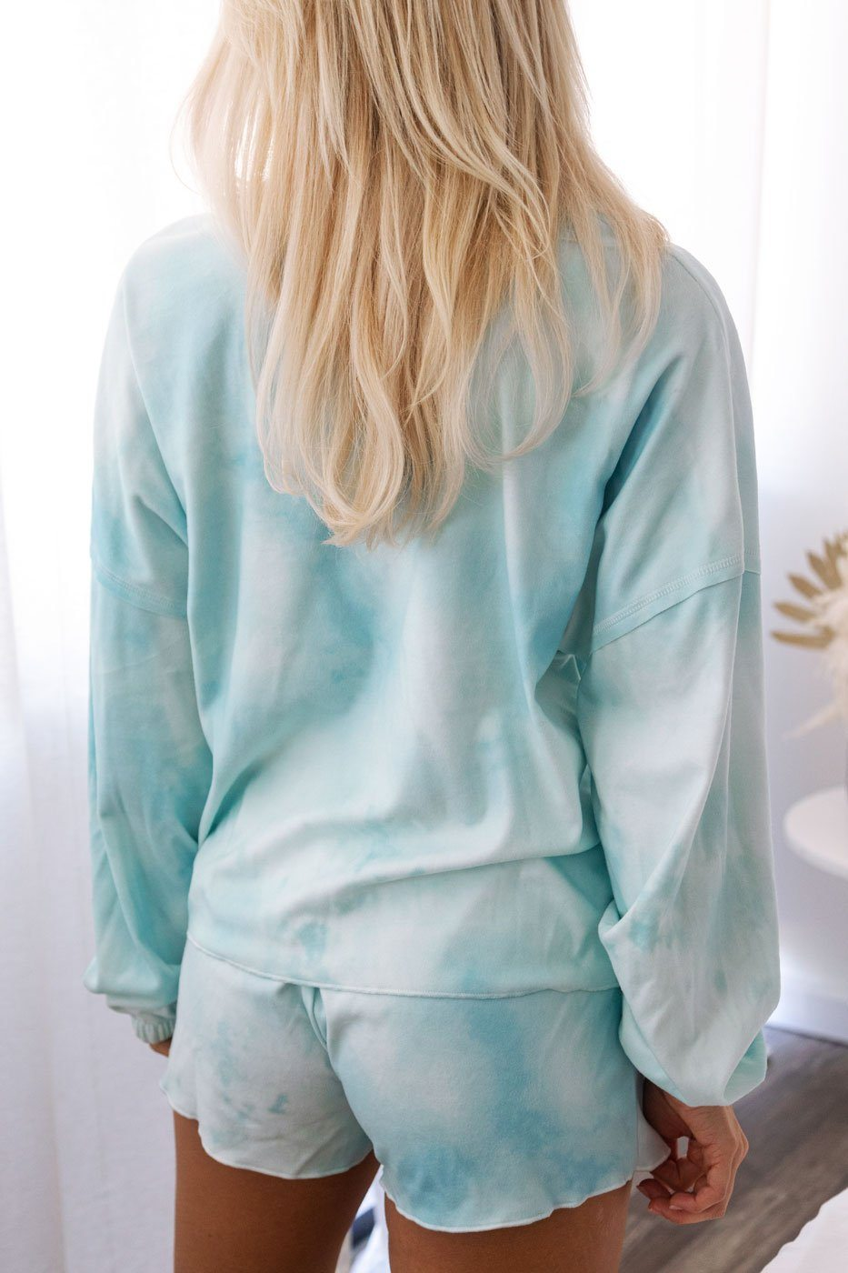 Aqua Tie-Dye Long Sleeve Top