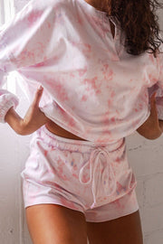 Sweet Tooth Light Pink Tie-Dye Shorts