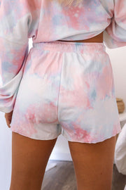 Pink and Blue Tie-Dye Shorts