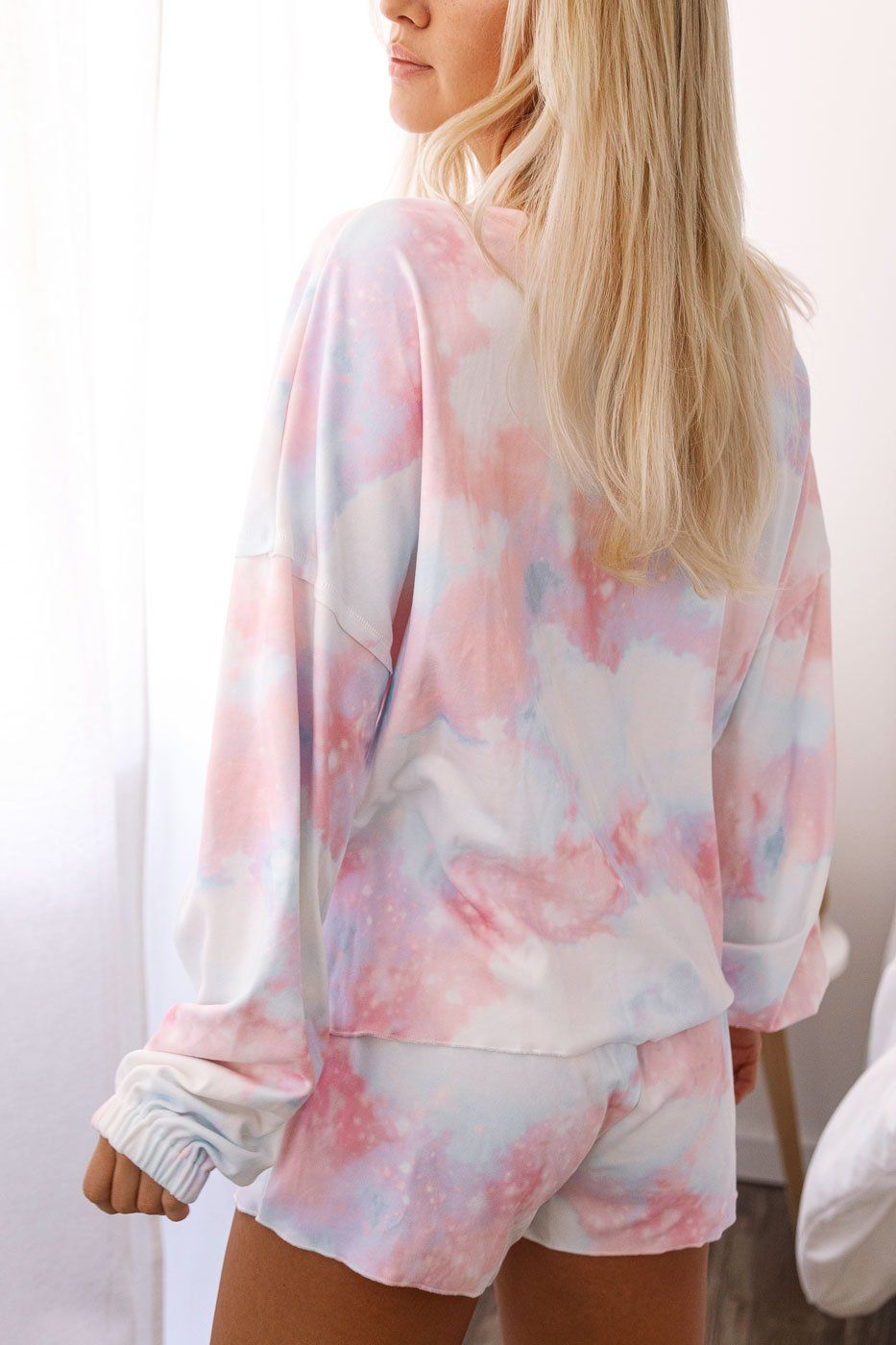 Pink and Blue Tie-Dye Long Sleeve Top
