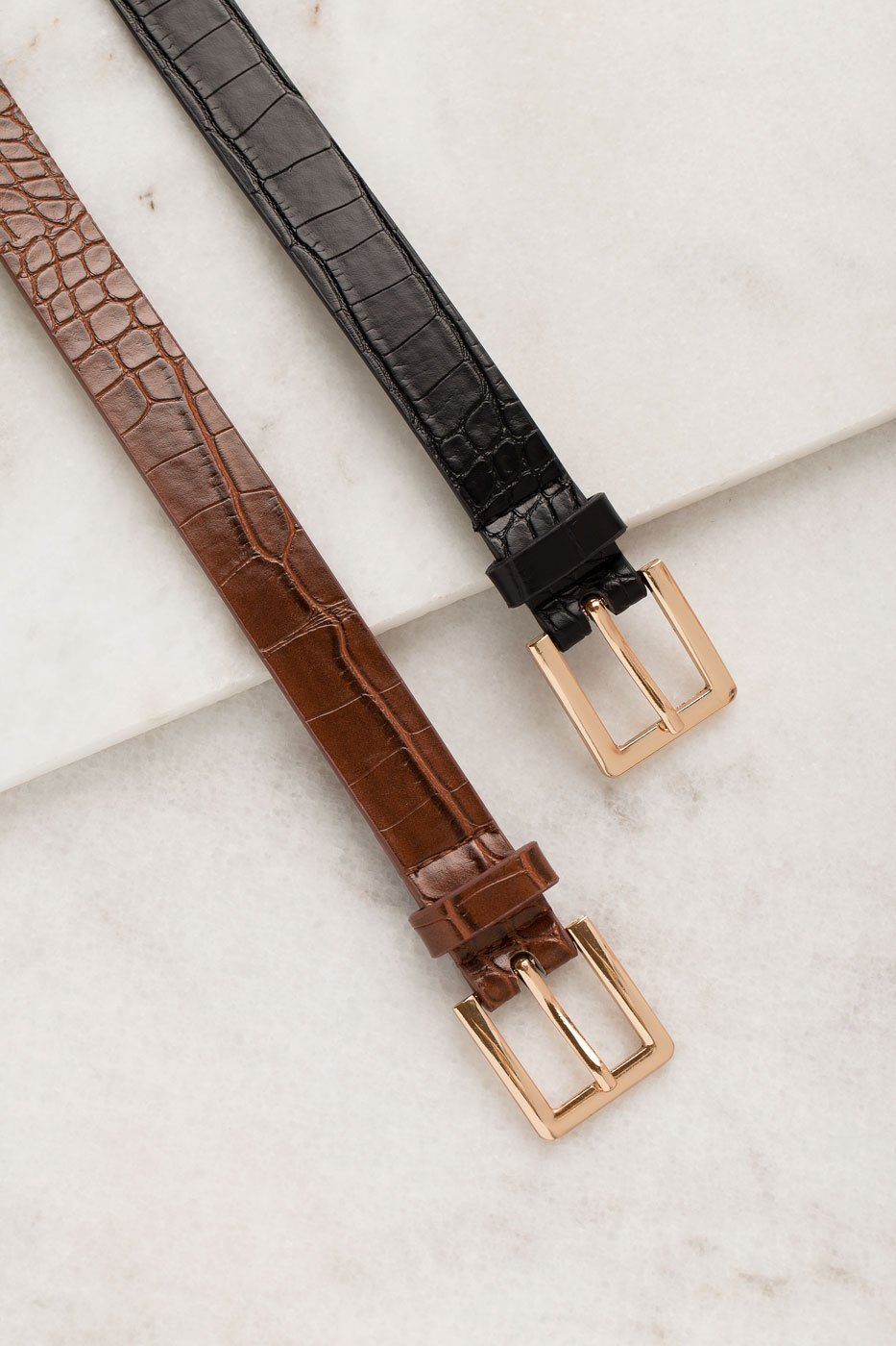 Thin Brown Belt with man made crocodile skin texture and a gold buckle