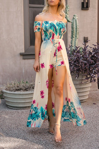 Lagoons Blue Floral Maxi Dress