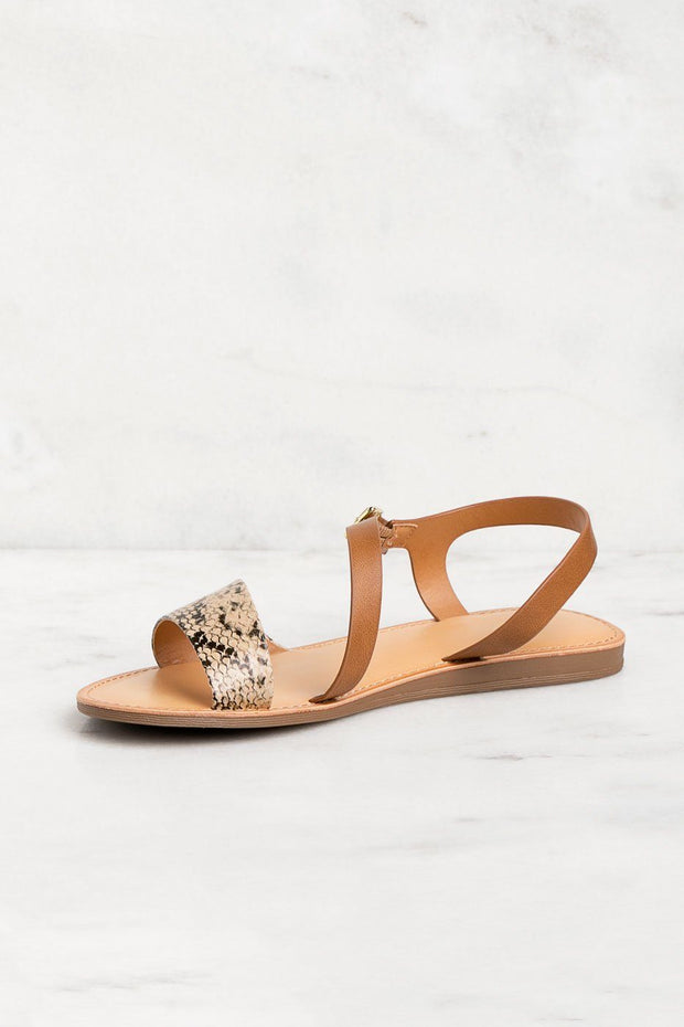 Snakeskin Print Strappy Sandals