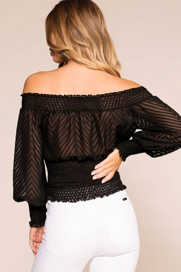 Priceless | Black | Off The Shoulder Top | Sheer | Womens