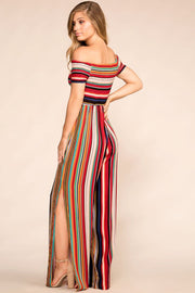 Orange Multi-Colored Off The Shoulder Striped Jumpsuit