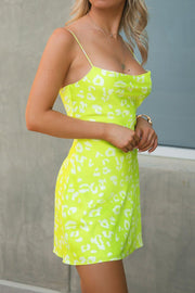 Neon Lime Leopard Print Mini Dress