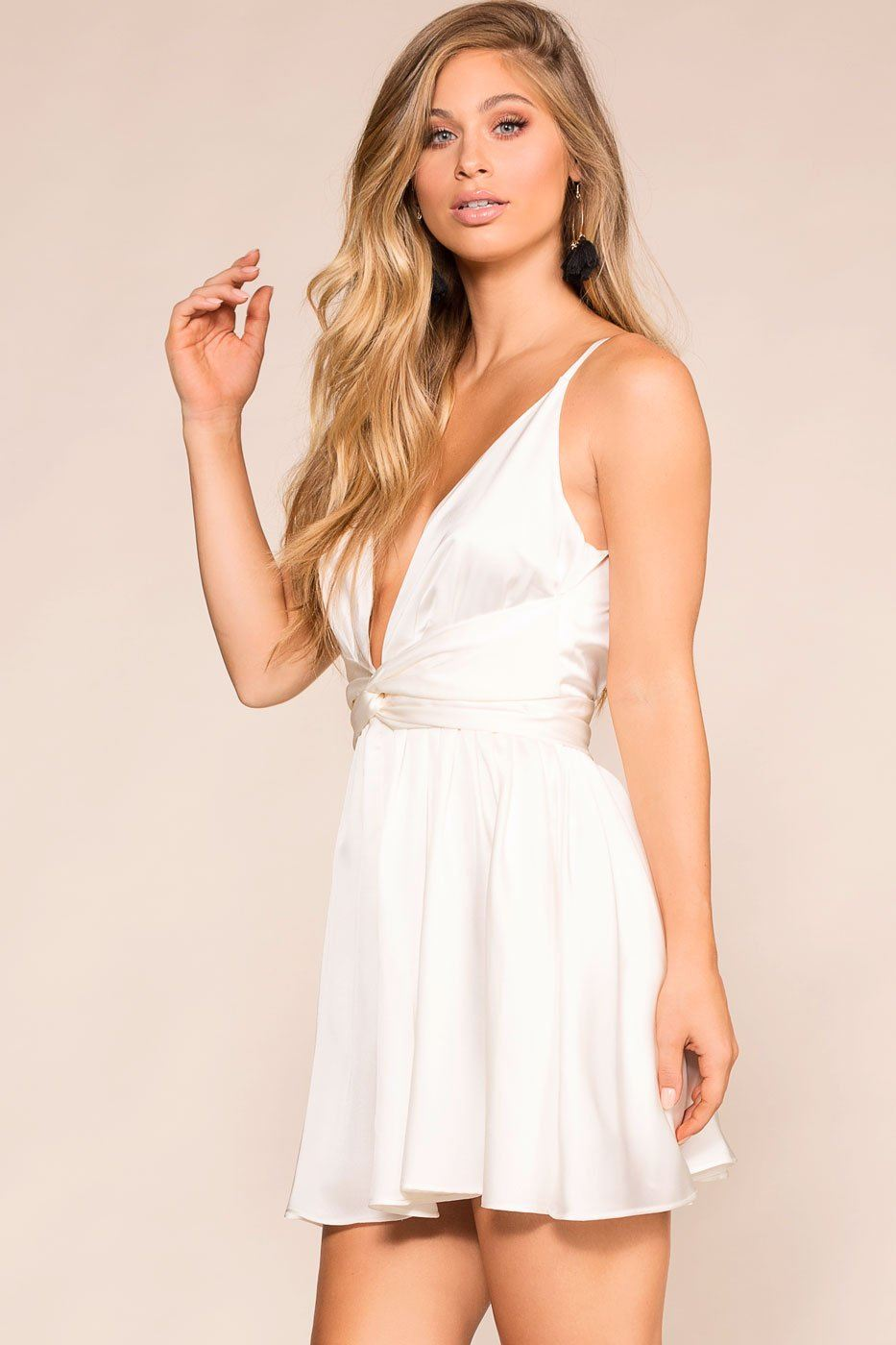 Plunge V-Neck White Skater Dress