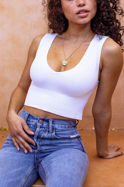 Tammy White Ribbed Crop Tank Top