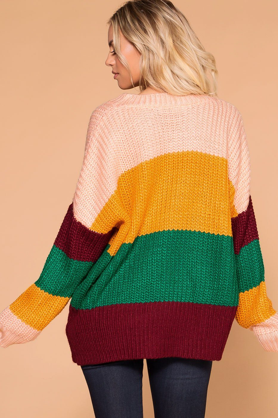 Priceless | Color Block Sweater | Knit Sweater Top | Womens