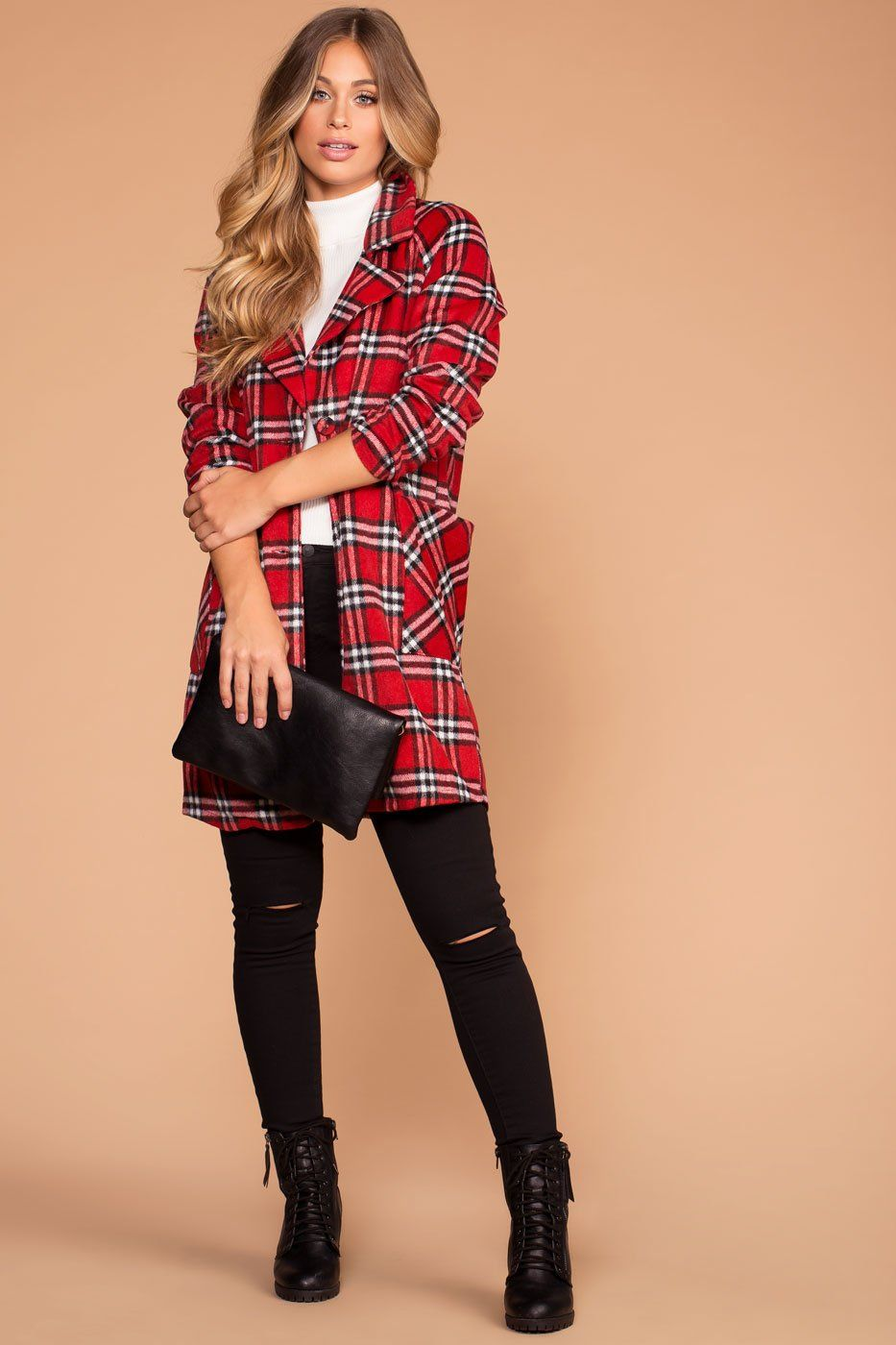 Tarrington Red Plaid Coat