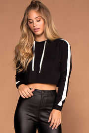 Black Stripe Hoodie Crop Top