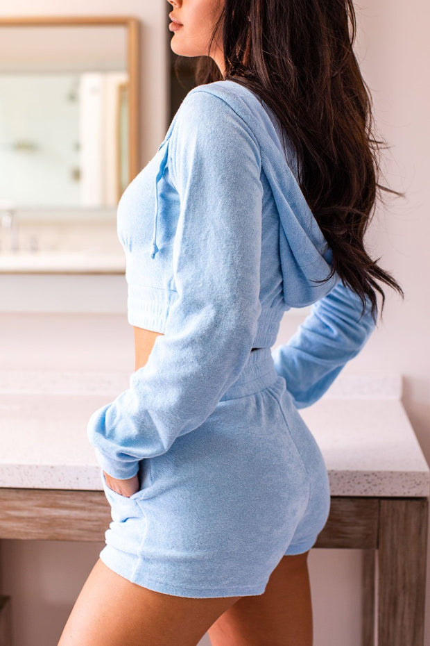 Teddy Sky Blue Crop Zip-Up Hoodie