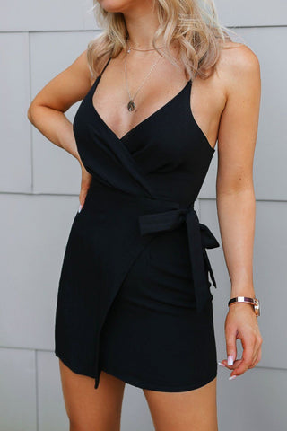 Shari Ribbed Bodycon Black Dress