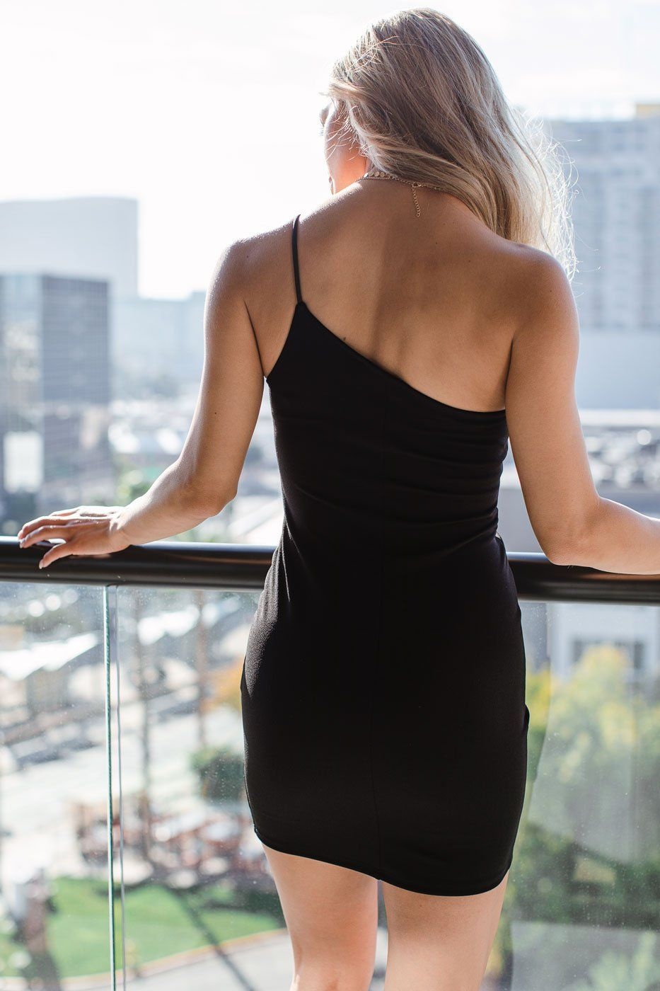 Black Asymmetrical Bodycon Dress