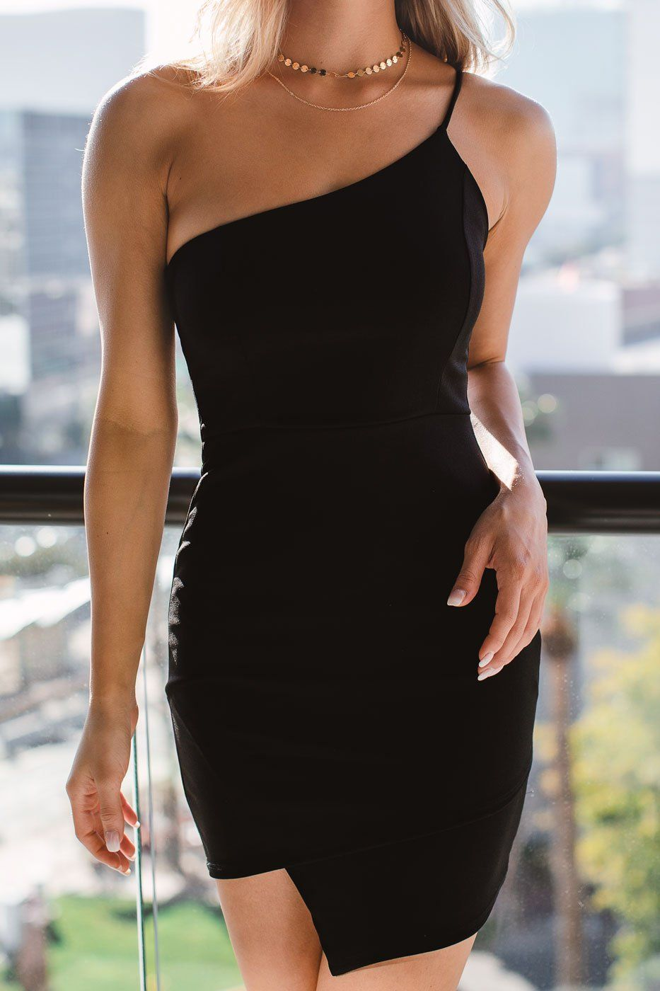 The City At Night Black Asymmetrical Bodycon Dress