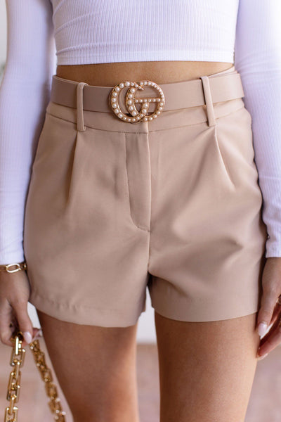 Taupe Pearl Buckle Belt