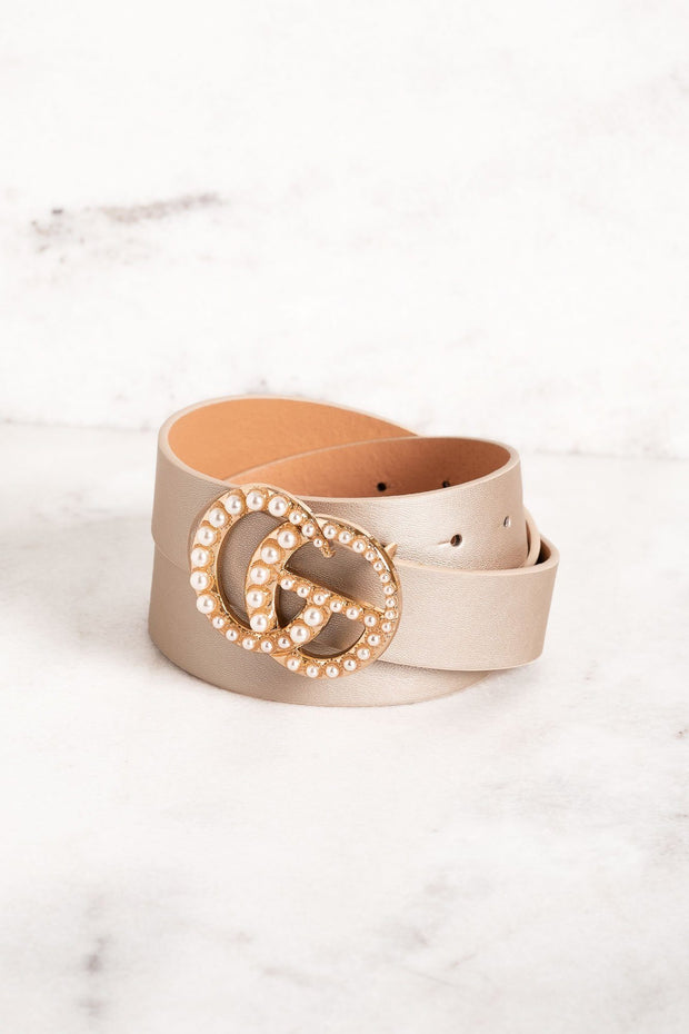 Champagne Pearl Buckle Belt