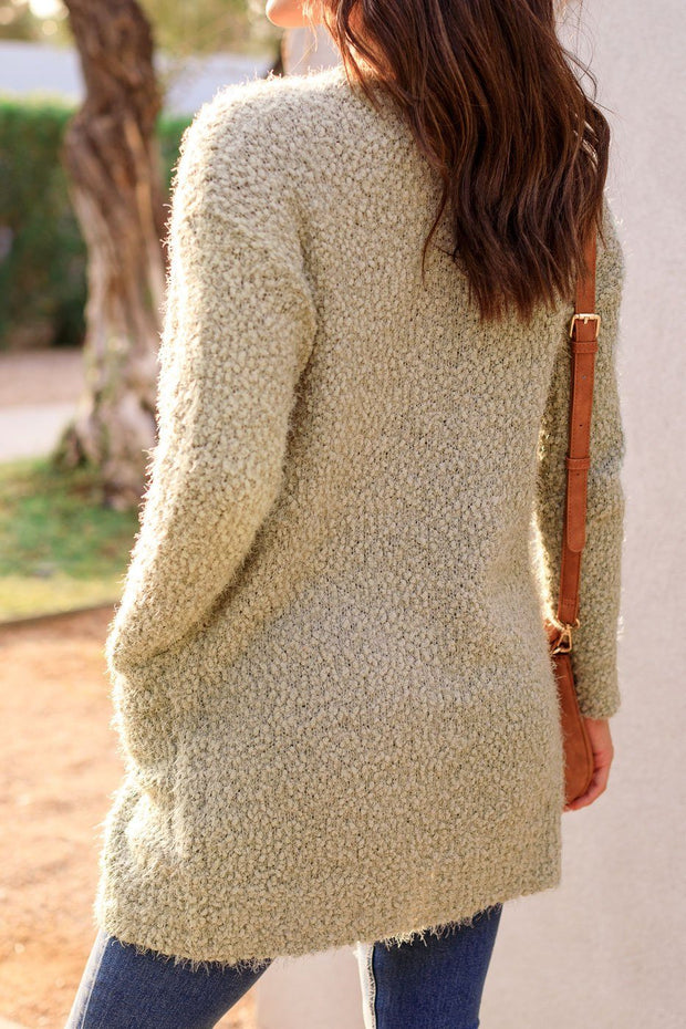 There She Goes Sage Bubble Knit Cardigan