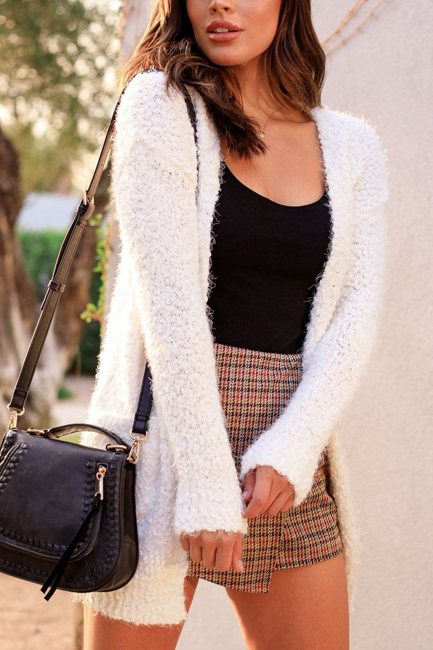 White Bubble Knit Cardigan