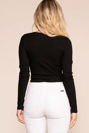 Tied Up Black Long Sleeve Crop Top | Hearts & Hips