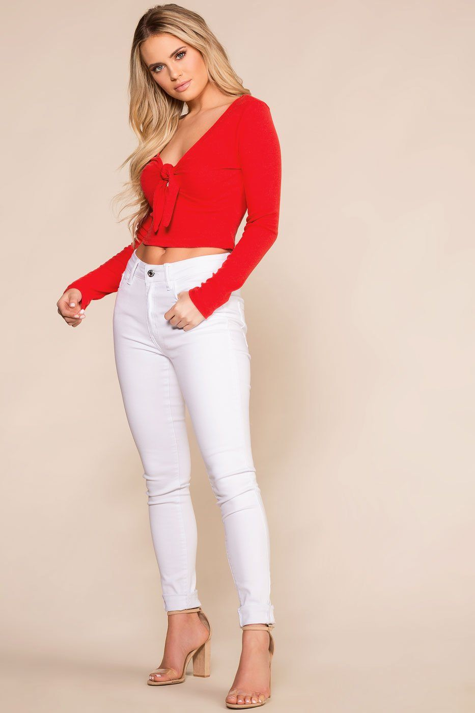 Priceless | Red | Tie Front | Long Sleeve Crop Top | Womens