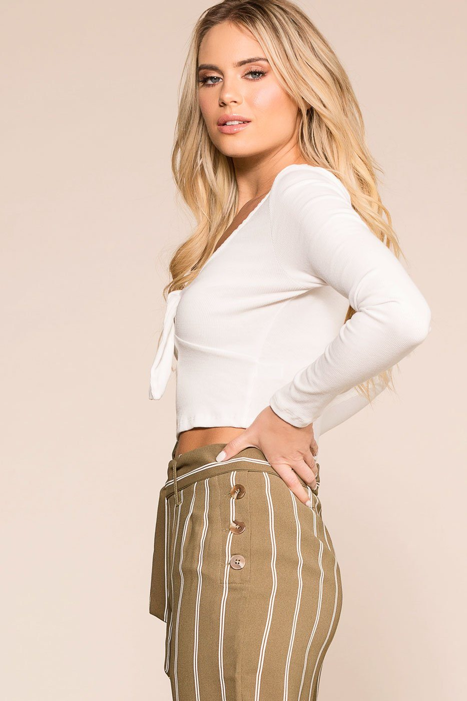 f1fa5b6c3d19a Tied Up White Long Sleeve Crop Top