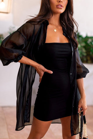 Good Company Black Buttoned Midi Dress