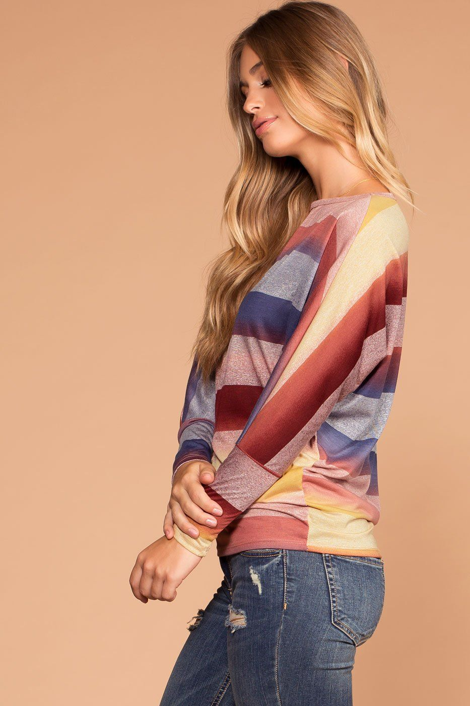 Tobi Multi Color Stripe Knit Top