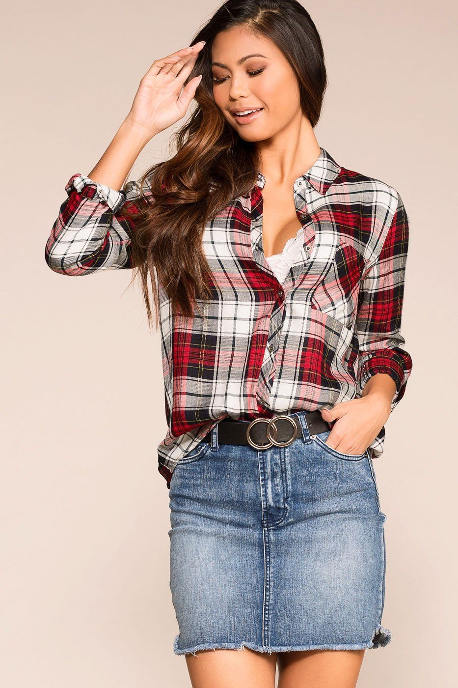 Priceless | Burgundy | Plaid Top | Womens