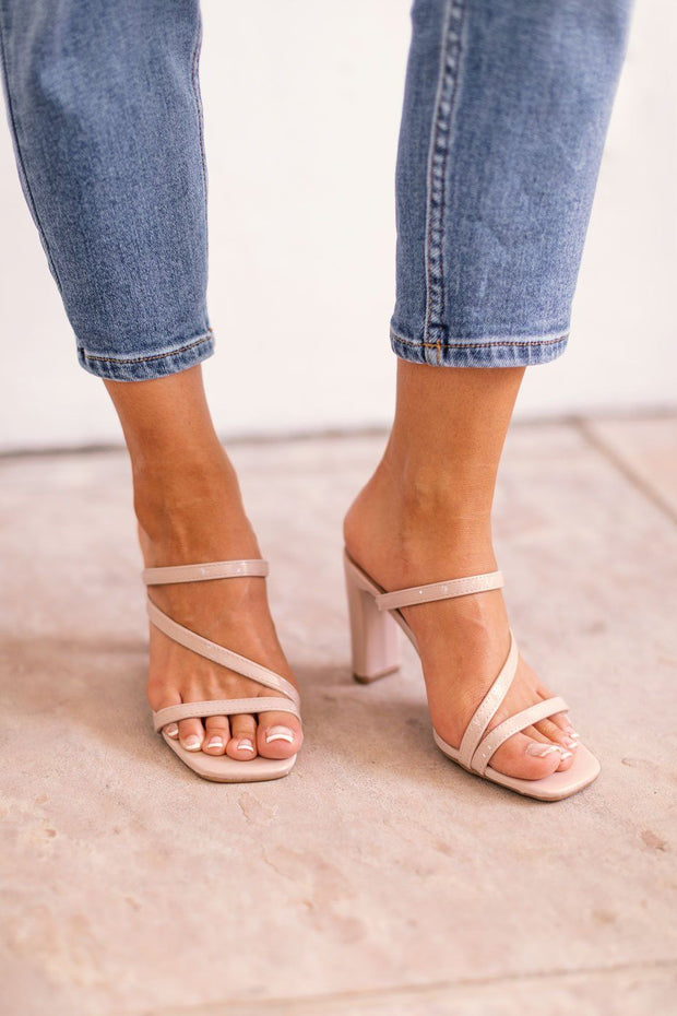 Tongue Tied Beige Strappy Heels