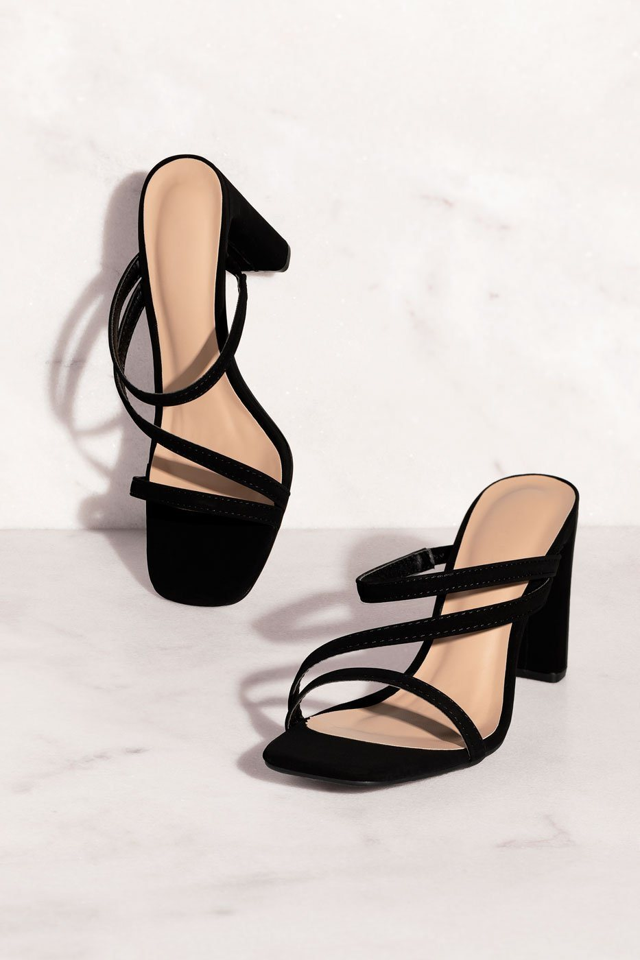 Tongue Tied Black Strappy Heels by