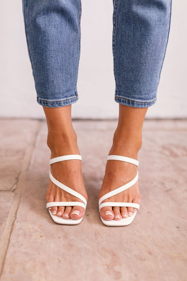 Tongue Tied White Strappy Heels