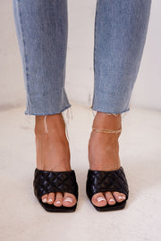 Black Quilted Slide-On Heels