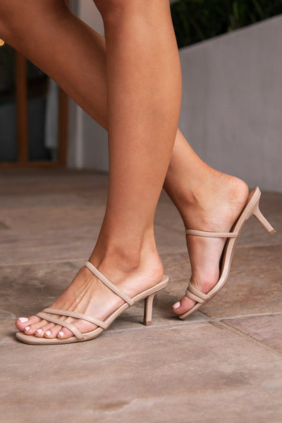 Beige Strappy Slide-On Heels