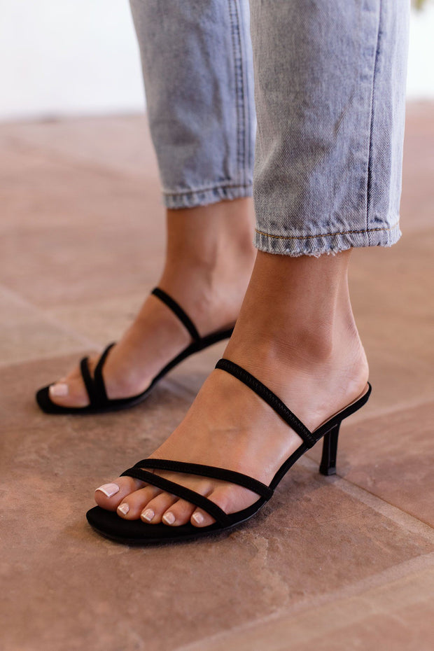 Black Strappy Slide-On Heels