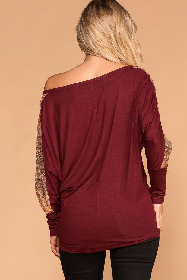 Women's Burgundy Sequin Top