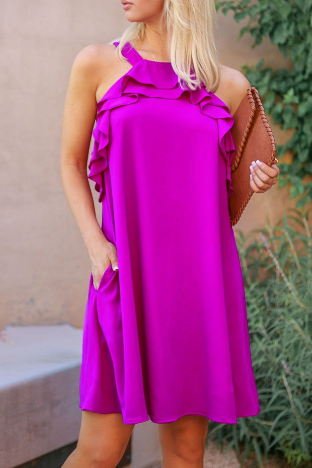 Ruffled Purple Shift Dress