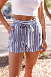 Blue Striped Tie Shorts