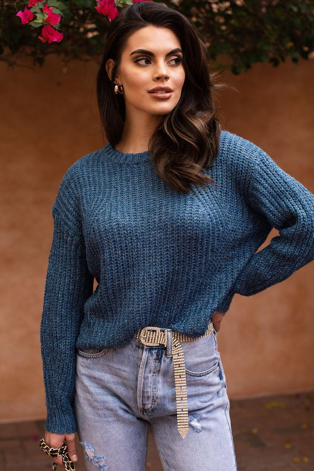 Up At Dawn Blue Knit Sweater