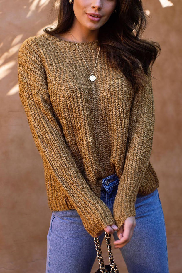 Up At Dawn Mustard Knit Sweater