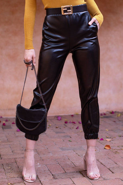 Black Vegan Leather Joggers